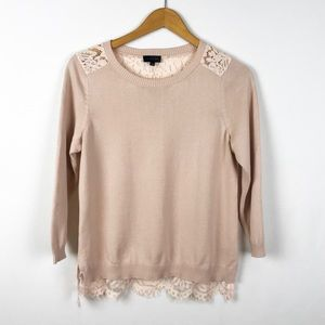 The Limited Rose Pullover Crew Lace Sweater